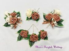 WEDDING FLOWER BUTTONHOLE CORSAGE PACKAGE MOCHA CAPPUCCINO ROSE DIAMANTE CRYSTAL