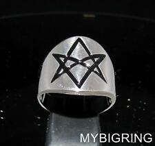 STERLING SILVER MEN'S BAND RING UNICURSAL HEXAGRAM AQUARIAN STAR BLACK ANY SIZE