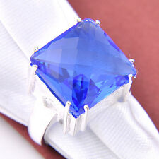 Holiday Gift Square Cut Titanic Ocean BLue Topaz Gemstone Silver Ring Size 7 8 9
