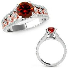 1 Carat Red Diamond Beautiful Solitaire Halo Wedding Ring Band 14K Two Tone Gold