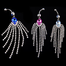 316L Surgical Stainless Steel Crystal Belly Navel Bar Ring Barbell Hot
