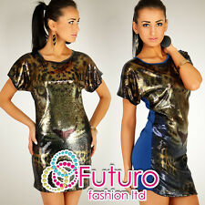 "Sexy Party Tunic ""TIGER"" Sequins Mini Dress Blouse Top Size 8-12 HQ RO07"