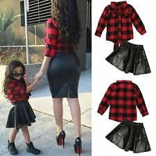 Kids Baby Girls Clothing Plaid Tops Blouse Leather Skirt Dress Outfits Sets 2~7Y