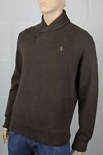 Polo Ralph Lauren Brown Shawl Collar Sweater Suede Elbow Patches NWT