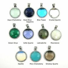 Oxidized Sterling Silver Round Bezel Gemstone Pendant Cubic Zirconia Pave