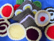 CHOICE OF WASHABLE SANDWICHES & CAKES play or display hand knitted in Wales