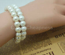 Fashion Elegant Glossy 8mm Faux Pearl Beads Stretch Bracelet Bangle Wedding Gift