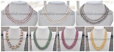 X0005 3Strds 8mm round FRESHWATER PEARL NECKLACE 18inch