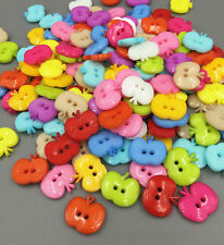 50/100 PCS Resin buttons Mixed Color Sewing Scrapbooking Apple 2 Holes16mm