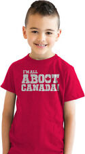 Youth All Aboot Canada Funny Canadian Country Pride T shirt for Kids (Red)