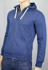 Polo Ralph Lauren Blue Hoodie Zip Sweatshirt Burgundy Pony NWT
