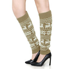 Women Elastic Cuffs Snowflake Deers Pattern Knee High Knit Leg Warmers Pair