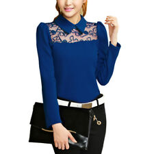 Woman Point Collar Long Sleeves Mesh Panel Textured Slim Fit Casual Top
