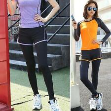 False two-piece Womens Sport Running  Exercise Pants Fitness Sweatpants Yoga S2