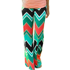 Women Mid Rise ZigZag Pattern Full-length Wide Leg Pants