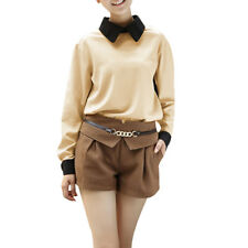 Ladies Point Collar Long Sleeve Color Panel Chiffon Blouse