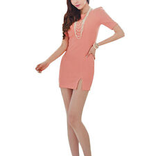 Ladies Elbow Puff Sleeve Front Split Stretchy Pullover Mini Dress