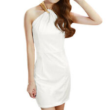 Woman Sequined Halter Neck Cut Out Back Sheath Dress