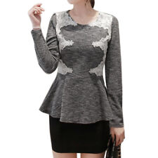 Women Round Neck Long Sleeves Lace Panel Slim Fit Peplum Top
