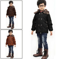 Boys Removerable Furry Collar Zip Up Small Pockets Jacket