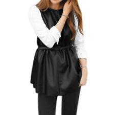 Women Crew Neck Long Panel Sleeves Color Block Casual Tunic PU Top w Belt
