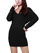 Allegra K Women Deep V Neck Long Sleeve Wrap Back Straight Clubwear Dress