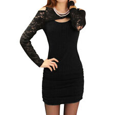 Women Lace Panel Cut Out Front Hollow Out Sheath Dress
