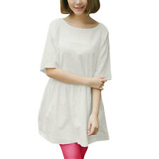 Woman Round Neck Half Length Sleeves Pullover Casual Tunic Dress