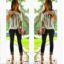 LOVE Womens Sexy OFF Shoulder Short Sleeve Casual Tops T-Shirts Blouse