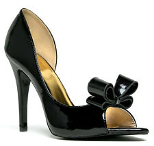 Cape Robbin Black Peep toe Bow D'Orsay Pump Stiletto Heels Women's shoes Cathy
