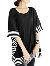 Women Cape Sleeves Stripes Detail Pullover Loose Tunic Blouse