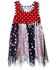 Bonnie Jean Girls Americana 4th of July Star Tulle Dress 12M 18M 24M New