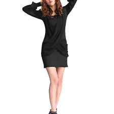 Ladies Scoop Neck Long Sleeve Chiffon Panel Fashion Mini Dress
