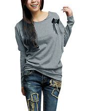 Ladies Scoop Neck Long Sleeve Loose Casual Pullover Batwing Shirt