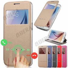 New Flip Folio Window PU Leather + TPU Case Kickstand Cover For Samsung & iPhone