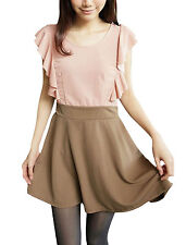 Ladies Stretchy Waist Flouncing Sleeve Above Knee Fashion Dress