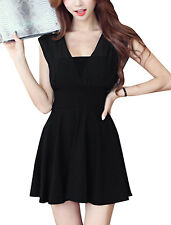 Lady Deep V Neck Front w Back Chiffon Panel Sexy Short Dress
