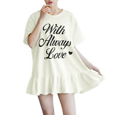 Woman Letters Prints Round Neck Flouncing Hem Pullover Tunic Dress
