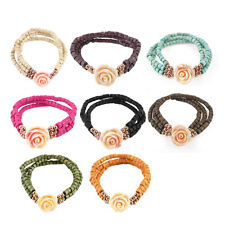 Wintersweet Pendant Layered Stretchy Charm Beads Linked Wrist Bracelet Bangle