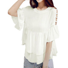 Women Round Neck Cut Out Sleeves Loose Layered Blouse