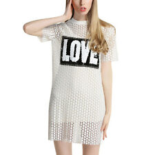 Woman Sequined Letters Stitching Hollow Out Round Neck Shift Dress