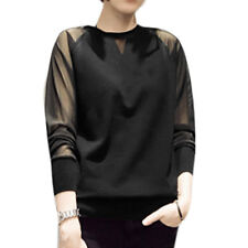 Women Crew Neck Long Raglan Sleeves Pullover Mesh Panel Casual Knit Shirt