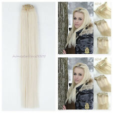 Remy Straight Human Hair Extension Seamless Clip in LOT  Weft 60 Platinum Blonde
