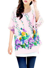 Lady's Round Neck Batwing Sleeve Floral Prints Semi Sheer Blouse