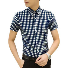 Man Plaids Short Sleeves Button Up Point Collar Casual Shirt
