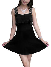Women Crochet Strap Ruffled Detail Club Wear Dress