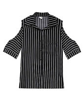 Lady Single Breasted Elbow Sleeve Stripes Cut Out Shoulder Shirt