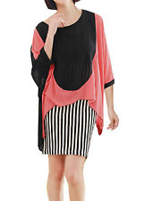 Scoop Neck 3/4 Bat Wing Sleeve Chiffon Shirt w Tank Top for Lady