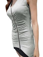 Woman Sleeveless Ruched Front Stretchy Casual Summer Tunic Shirt