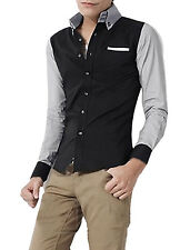 Mens New Fahion Point Collar Long Sleeve Buttoned Cuff Casual Shirt